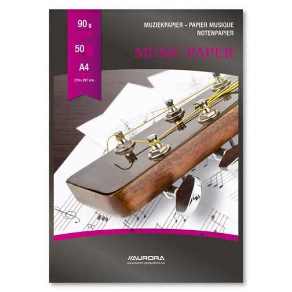 AURORA Raphael Bloc Musique A4 90g/m² 50 Feuilles 12 Portées