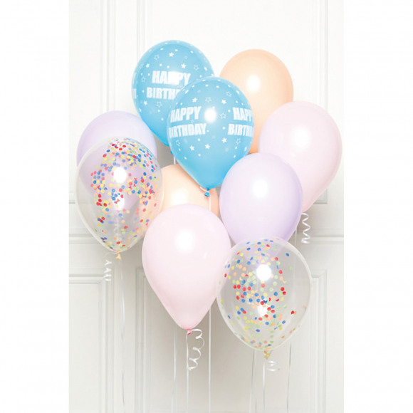 AVA selection DIY Ballonboeket Happy Birthday Pastel (10 Ballonnen)