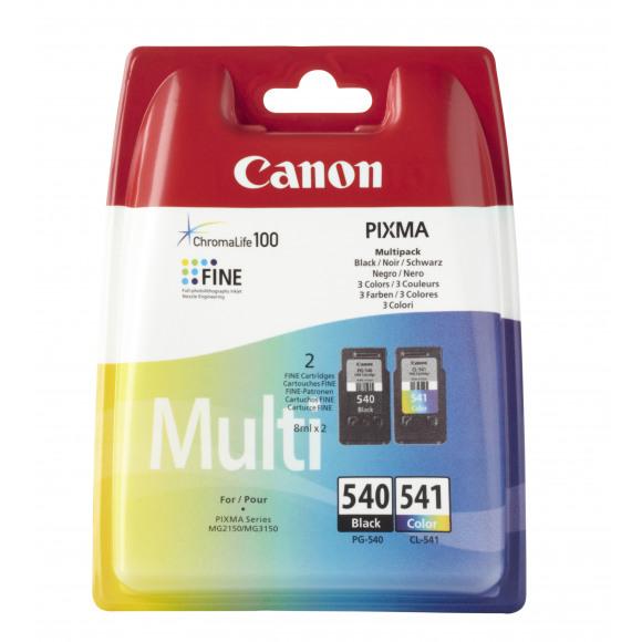 CANON Inktcartridge Zwart + Tricolor Pg-540/Cl-541 Meerdere