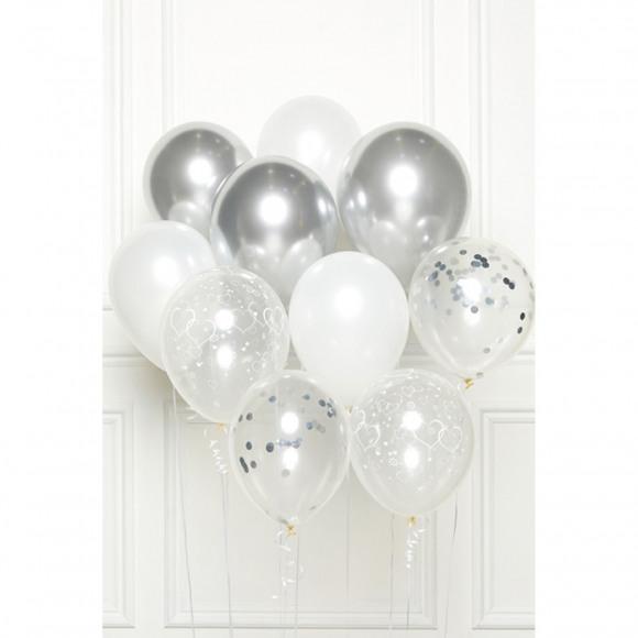 AVA selection DIY Ballonboeket Silver Wedding (10 Ballonnen) Grijs/Zilver