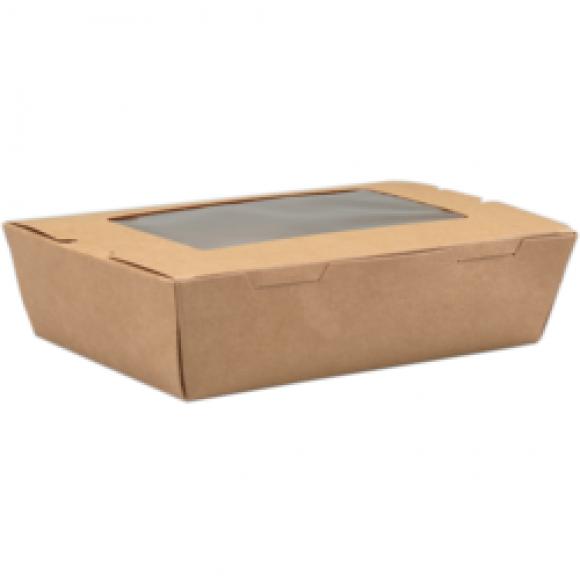 AVA selection Maaltijdbox Met Venster 600ml 18x12x5cm Kraft + PE Coating 50 Stuks