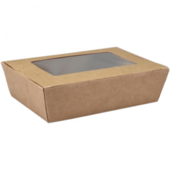 AVA selection Maaltijdbox Met Venster 400ml 15x10x4,5cm Kraft + PE Coating 50 Stuks