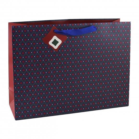 CLAIREFONTAINE Everyday Geschenkzak Blauw Wax Rode Ruiten 37,3x11,8x27,5cm Blauw