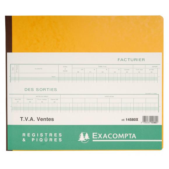 EXACOMPTA Piqûre TVA Sorties FR Avec Feuille D'Identification 31 Lignes 80 Pages Numérotées