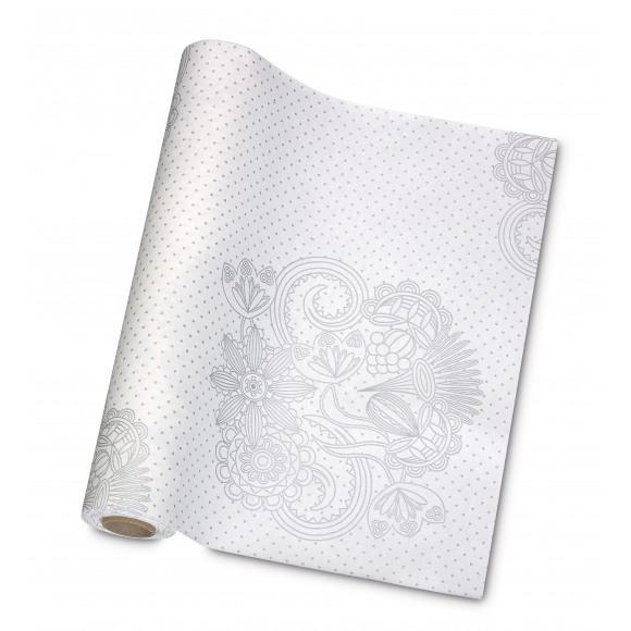 GALA Chemin De Table Dessin Mia White Silver Sensation De Lin 10mx40cm Dessin