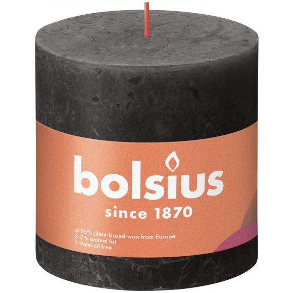 BOLSIUS Cilinderkaars Rustiek Stormy Grey Grijs H 100mm Ø 100mm 62u Zwart/Grijs