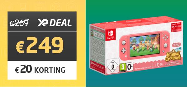 Nintendo Switch Lite Coral + Animal Crossing + Nintendo Switch Online