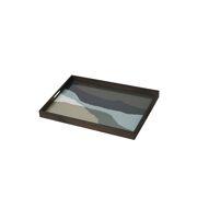 Graphite Wabi Sabi Glass Tray - 61 x 46 x 5 cm
