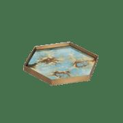 Teal Organic Mini Glass Tray Large - 29 x 26 x 3 cm