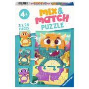 Puzzel Schattige Dino's Mix & Match 3 x 24 stuks - RAV 051977