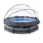 Rond opbouw zwembad 300 x 76 Stone met overkapping en filterpomp - EXIT 30.32.10.00