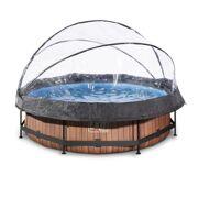Rond Opbouw Zwembad 300 x 76 Timber Style met overkapping en filterpomp - EXIT 30.32.10.10