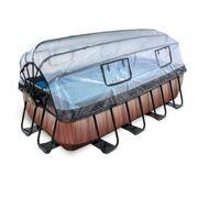 Rechthoekig Opbouw Zwembad 400 x 200 Timber Style met overkapping, zwembadladder, zandfilterpomp en warmtepomp - EXIT 30.57.42.10