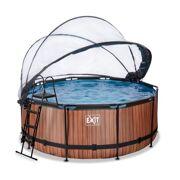 Rond Opbouw Zwembad 360 x 122 Timber Style met warmtepomp, overkapping, zwembadladder en zandfilterpomp - EXIT 30.67.12.10