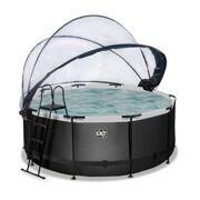 Rond Opbouw Zwembad 360 x 122 Black Leather Style met warmtepomp, overkapping, zwembadladder en zandfilterpomp - EXIT 30.67.12.20