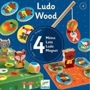 Houten spellen Ludo Wood (4 spellen) - DJE DJ01628