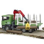 Bruder - Scania R-serie vrachtwagen voor houttransport met laadkraan, grijper en 3 lange boomstammen