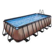Rechthoekig Opbouw Zwembad 540 x 250 Timber Style met zwembadladder en zandfilterpomp - EXIT 30.27.53.10