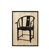 CONCUBINE - muurdecoratie m/chinese stoel - paulownia - nat/zwart - handgesneden - 60x80