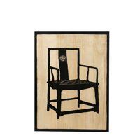 MANDARIN - muurdecoratie m/chinese stoel - paulownia - nat/zwart - handgesneden - 60x80