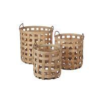 EASY - set/3 baskets - rattan - DIA 28,5/33/39 x H 31,5/36/40,5 cm