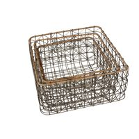 NASSE - square baskets - metal - set of 3 - 29x29x18cm + 33x33x18,5cm + 38x38x21cm
