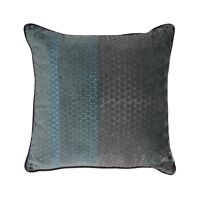 ALCESTE - cushion - velvet - triangle print - teal/ink blue - 45x45cm