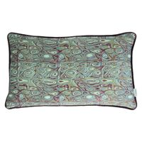 LORENZO - cushion - velvet - shell print - green/purple - 30x50cm