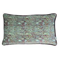 LORENZO - kussen - fluweel - schelp print - groen/paars - 30x50cm