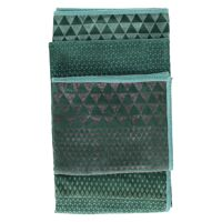 ALCESTE - plaid - velours/coton - print triangles - gris/vert - 130x170cm
