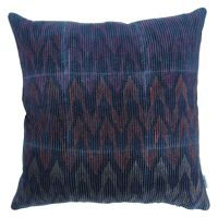 NAÏS - cushion - velvet - herringbone print - purple/ royal blue - 45x45cm