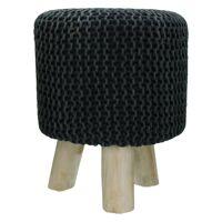 SPHERE - stool - stone washed - cotton - black - DIA 35 x H 45 cm