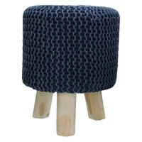 SPHERE - stool - stone washed - cotton - navy - DIA 35 x H 45 cm