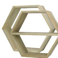 GRAPHIK - Set/2 supports muraux hexagonaux - 1  avec étagère - manguier - 45 x 15 x 39 cm
