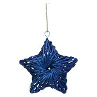 BARI' OLÈ - pendeloque étoile - rotin - bleu - MM - DIA 26 cm x H 6,5 cm