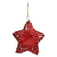 BARI' OLÈ - pendant star - rattan - red - M - DIA 26 cm x H 6,5 cm