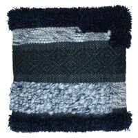 NARANBAATAR - cushion - geweven wol/jutte - zwart/blauw - 45x45cm