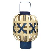 ANJÓ - lantaarn - bamboe - naturel/blauw - L - DIA 39 x H 51cm