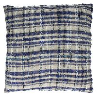 SWEETY - cushion - 100% cotton - black natural & blue - 45x45cm