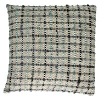 COCOONING - cushion with big checks - 100% cotton - black & blue - 45x45cm