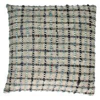 COCOONING - coussin gros carreaux - 100% coton - noir & bleu  - 45x45cm