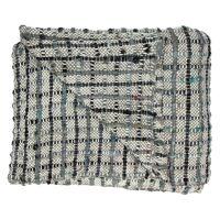 COCOONING - plaid gros carreaux - 100% coton - noir & bleu - 125x150cm