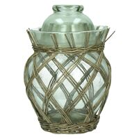 MING - pot with lid - glass - rattan - grey - S - 19 x Ø29 cm