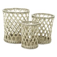 SANGY - Set/3 Baskets - rattan - grey - 23/43/50 x Ø25,5/33,5/40 cm
