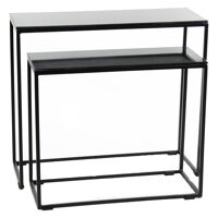 NEW SIMPLE - set of 2 nesting tables - metal / marble - L 60/70 x W 24/26 x H 50/61 cm - black