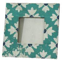 CUENCA - cadre photo - céramique - turquoise - S - 19x19x1,9 cm