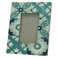 CUENCA - cadre photo - céramique - turquoise - L - 20x25x1,9 cm