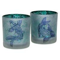 HONSHU - Set 2 T/lightpoissons japonais - verre - Dia 7,3x8 cm