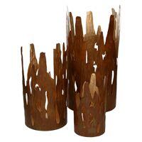 MONTE CASTRO - set/3 windlichten - metaal - roest/goud - S:Ø10xh20 M:Ø15xh30 L:Ø20xh40