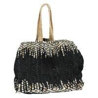 MADAGASCAR - wood bag - jute / leather - L 40 x W 40 x H 40 cm
